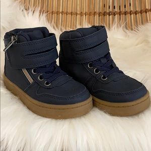 Boys size 8 dark blue high tops